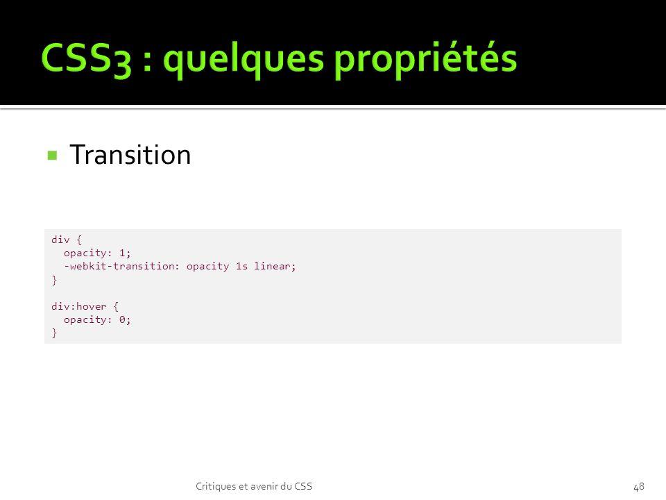 CSS3 : quelques propriétés