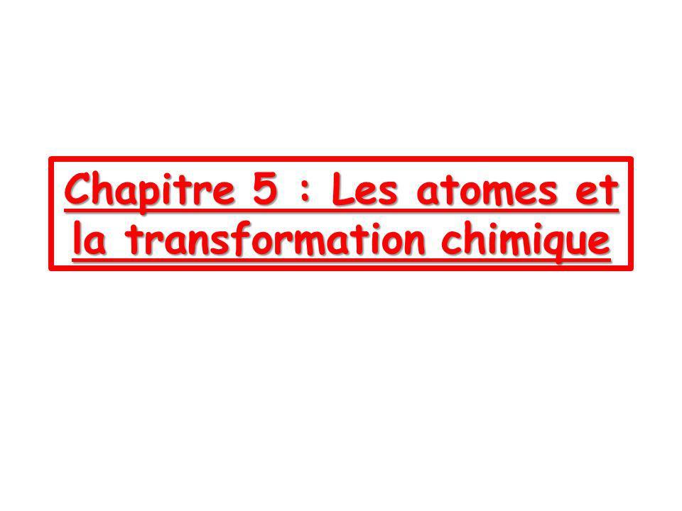 Chapitre 5 : Les atomes et la transformation chimique