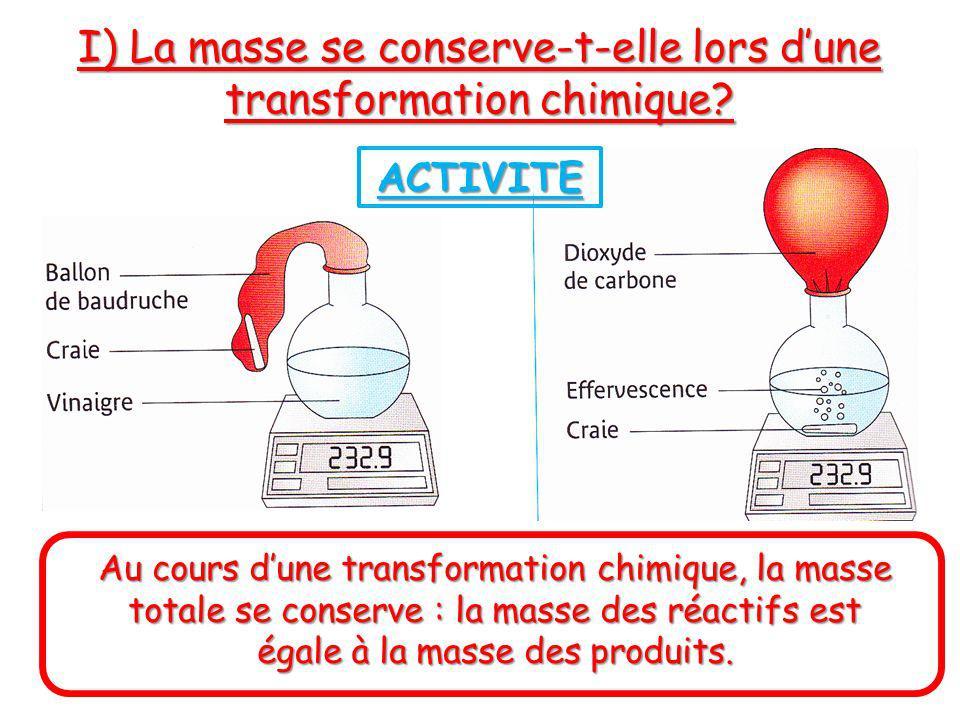 I) La masse se conserve-t-elle lors d'une transformation chimique