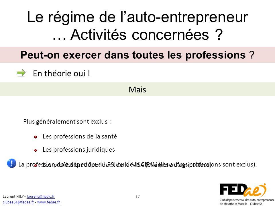 Le régime de l'auto-entrepreneur … Activités concernées