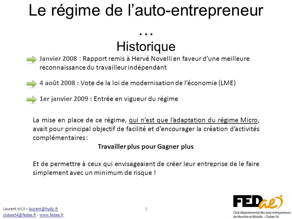 Le régime de l'auto-entrepreneur … Historique