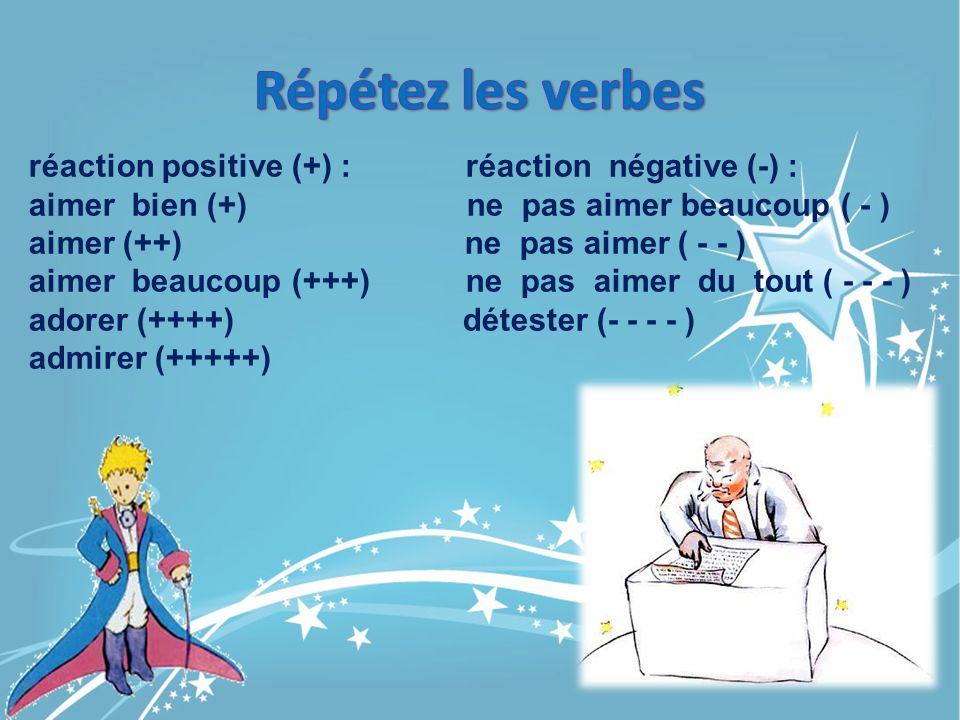 Répétez les verbes réaction positive (+) : réaction négative (-) :