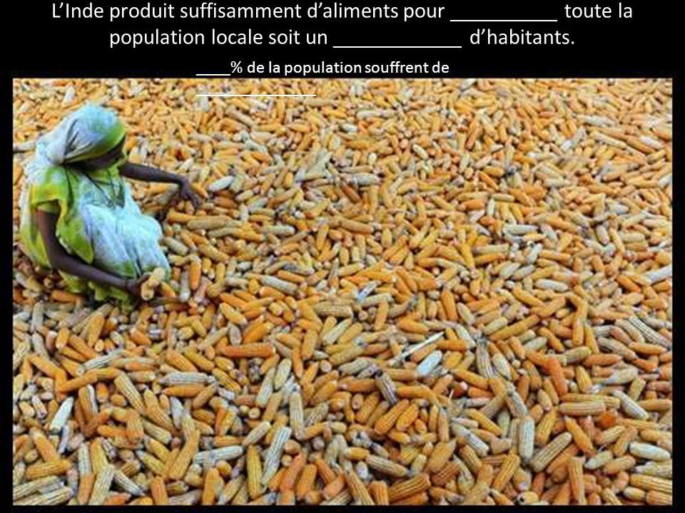 L'Inde produit suffisamment d'aliments pour __________ toute la population locale soit un ____________ d'habitants.