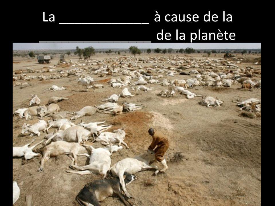 La ____________ à cause de la _______________ de la planète