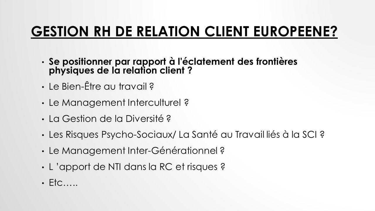 Gestion rH de Relation client europeene