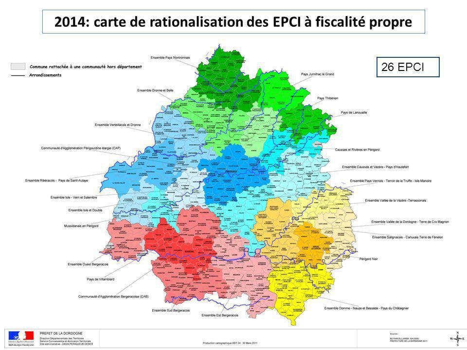 2014: carte de rationalisation des EPCI à fiscalité propre