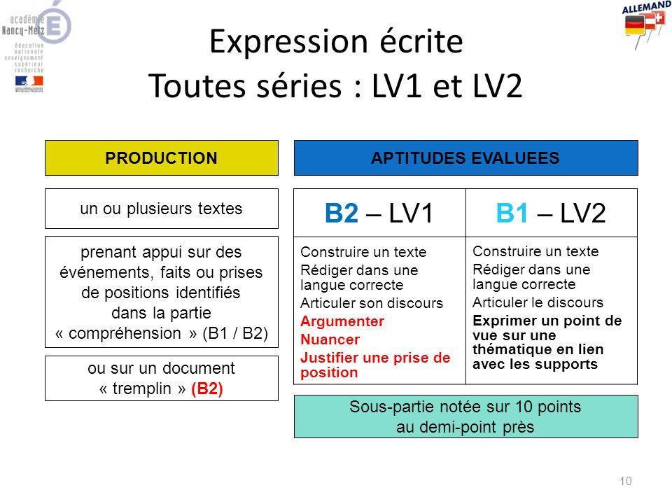 Expression écrite Toutes séries : LV1 et LV2