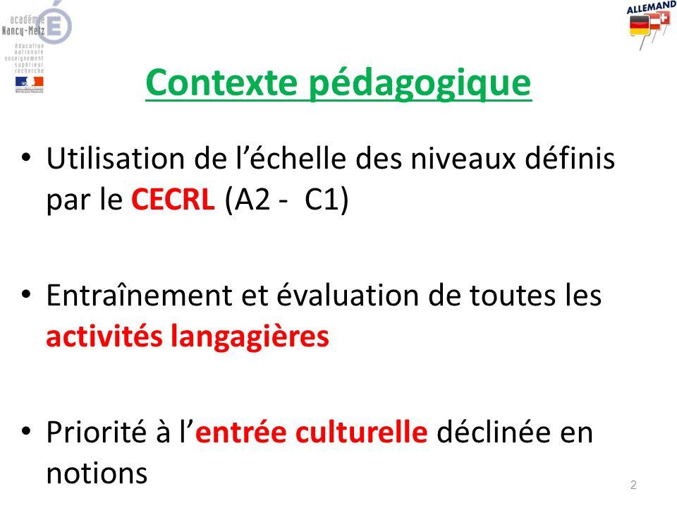 Contexte pédagogique Utilisation de l'échelle des niveaux définis par le CECRL (A2 - C1)