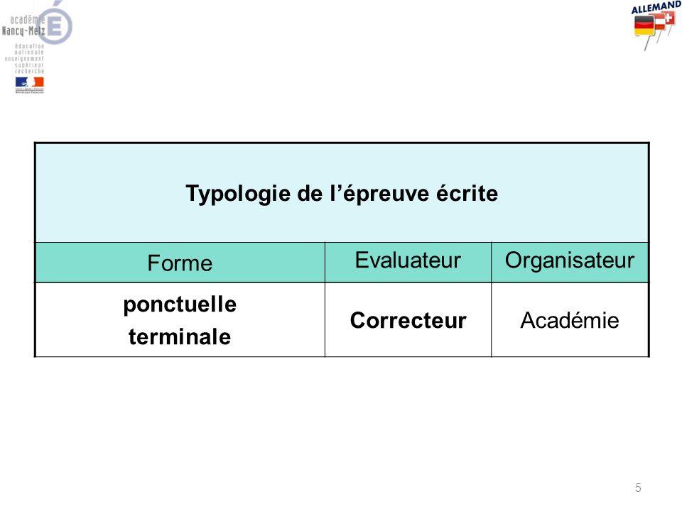 Typologie de l'épreuve écrite