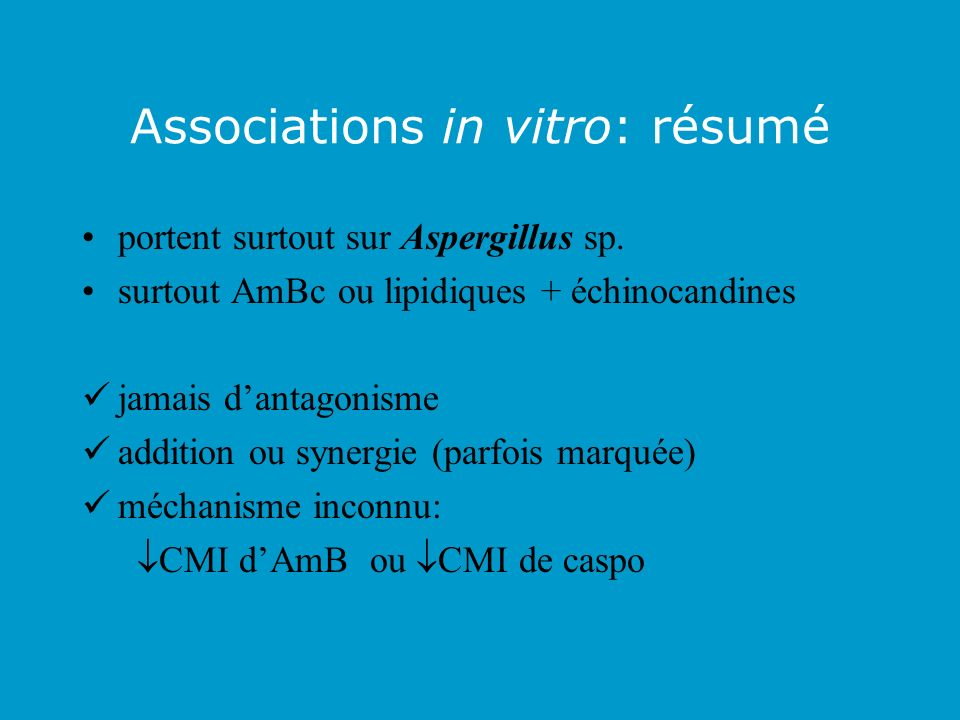 Associations in vitro: résumé