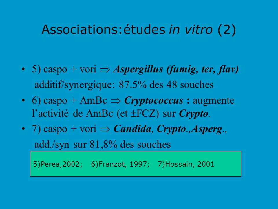 Associations:études in vitro (2)