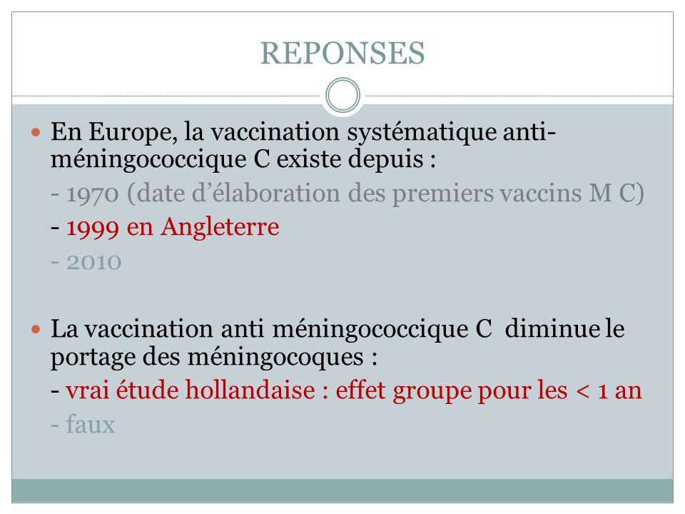 REPONSES En Europe, la vaccination systématique anti-méningococcique C existe depuis : - 1970 (date d'élaboration des premiers vaccins M C)