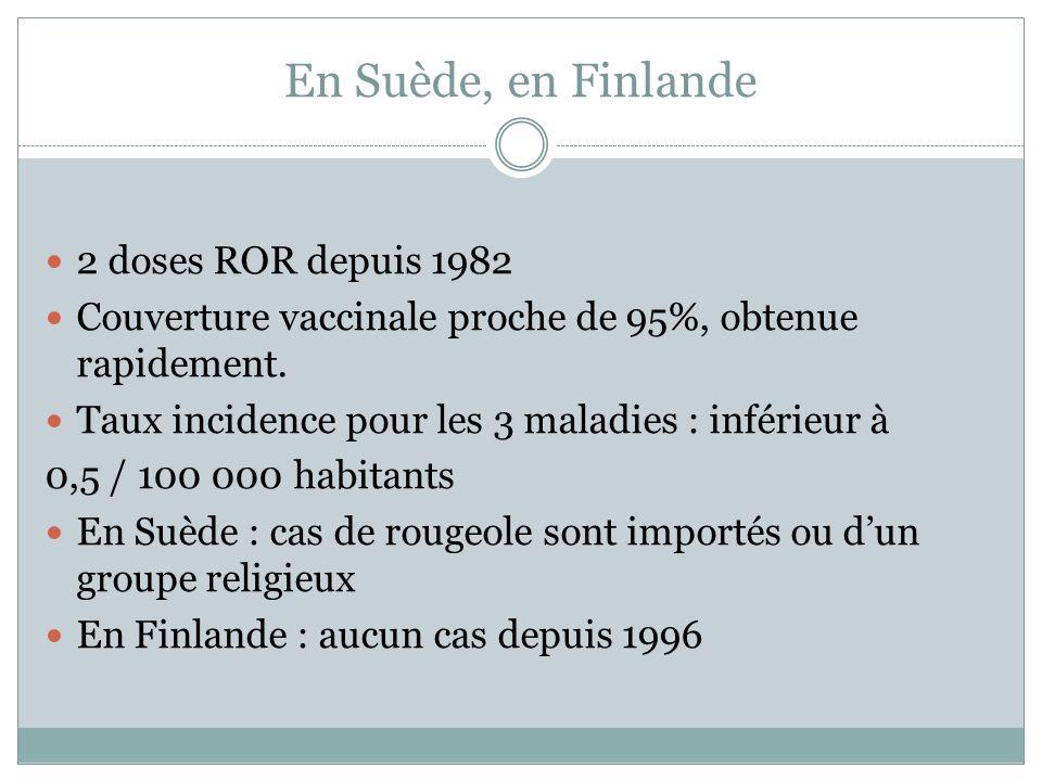 En Suède, en Finlande 2 doses ROR depuis 1982