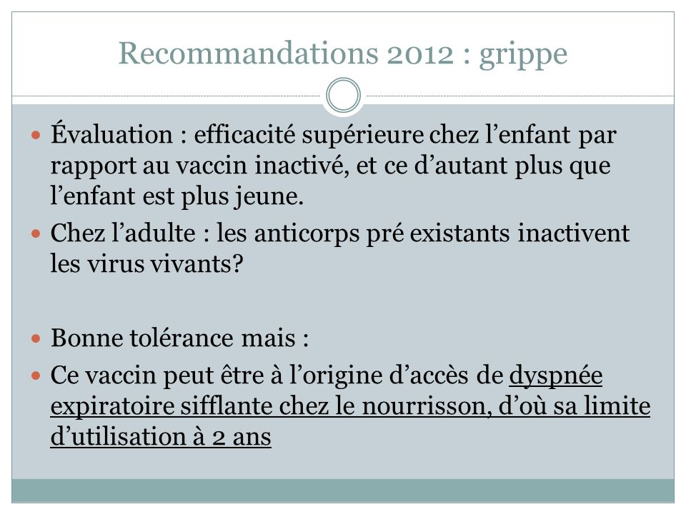 Recommandations 2012 : grippe