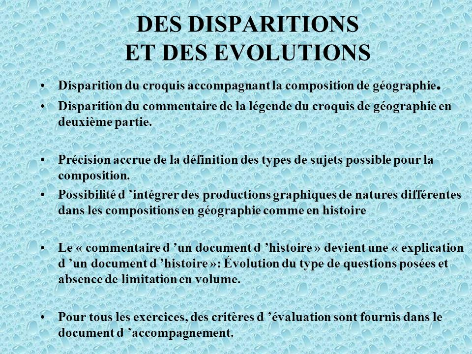 DES DISPARITIONS ET DES EVOLUTIONS