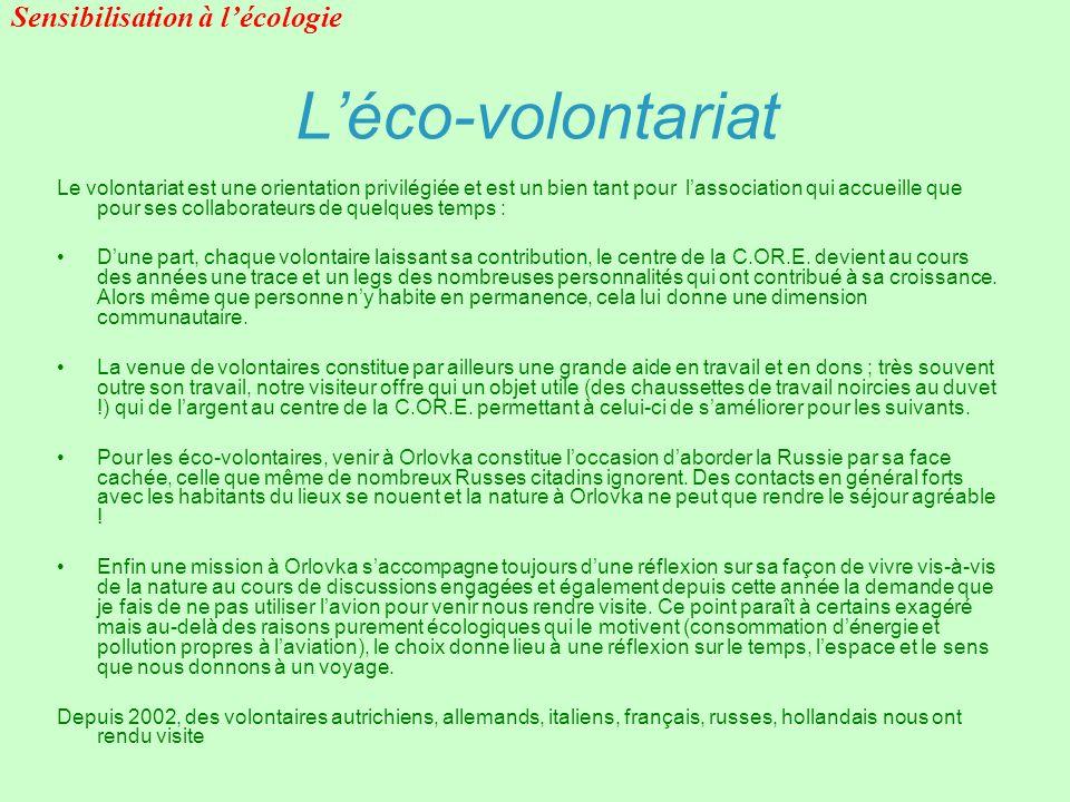 L'éco-volontariat Sensibilisation à l'écologie