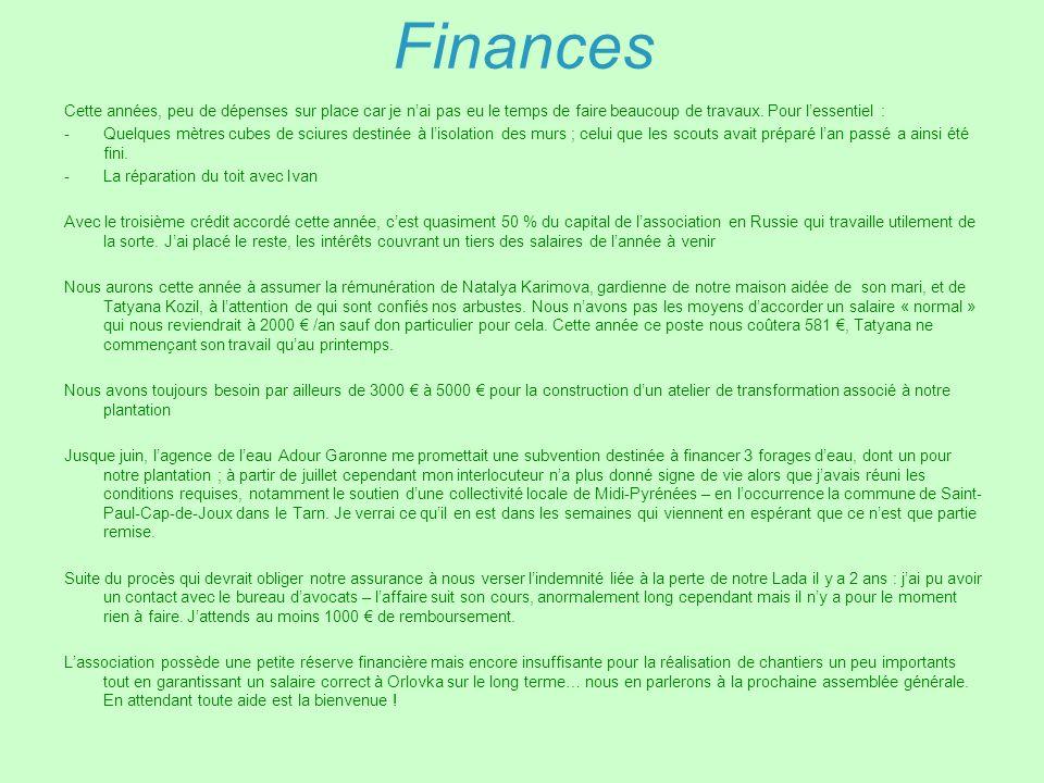 FinancesCette années, peu de dépenses sur place car je n'ai pas eu le temps de faire beaucoup de travaux. Pour l'essentiel :