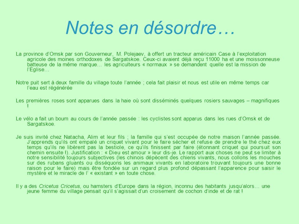Notes en désordre…