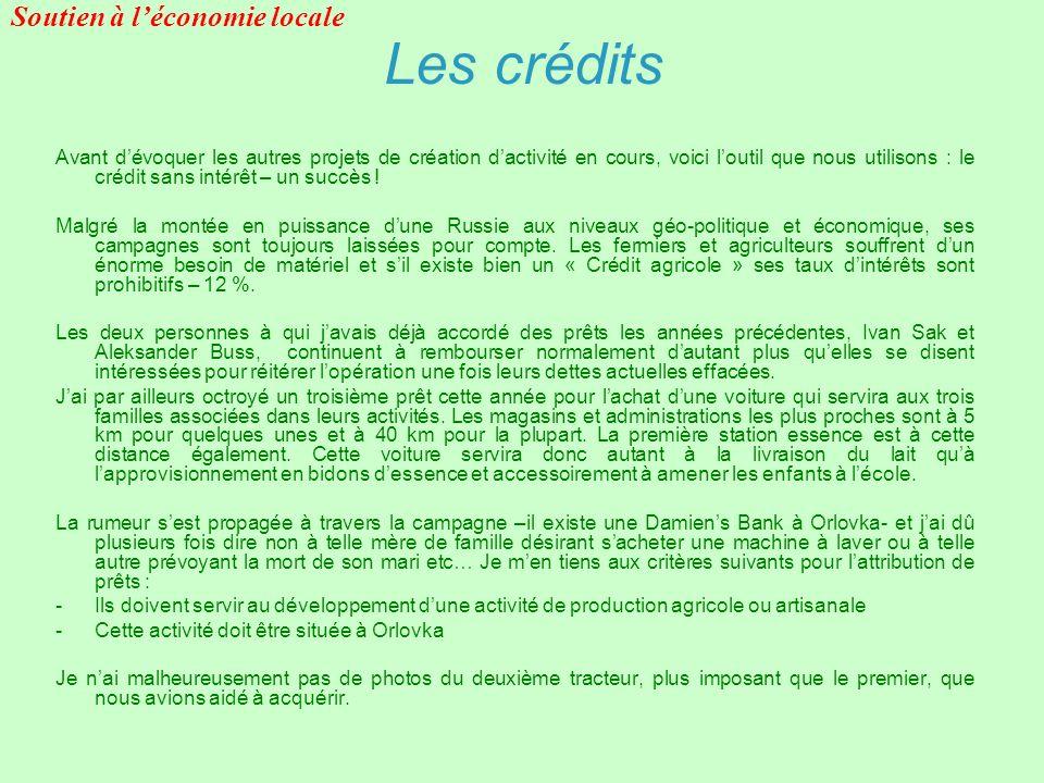 Les crédits Soutien à l'économie locale