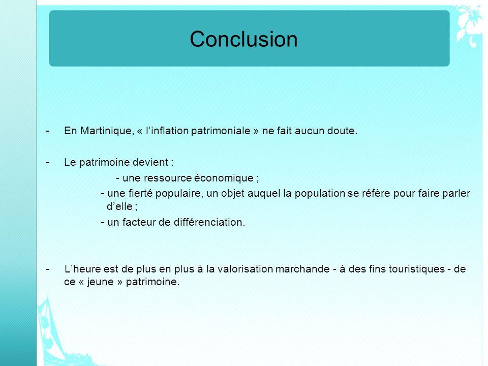 Conclusion En Martinique, « l'inflation patrimoniale » ne fait aucun doute. Le patrimoine devient :