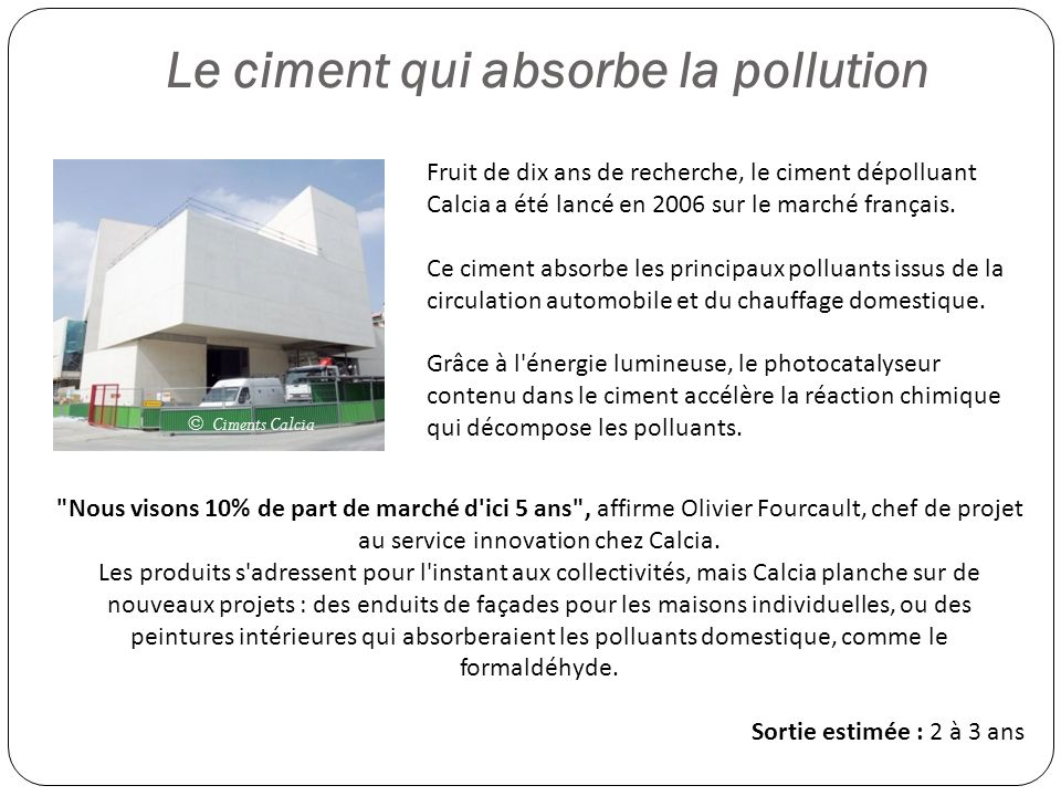 Le ciment qui absorbe la pollution