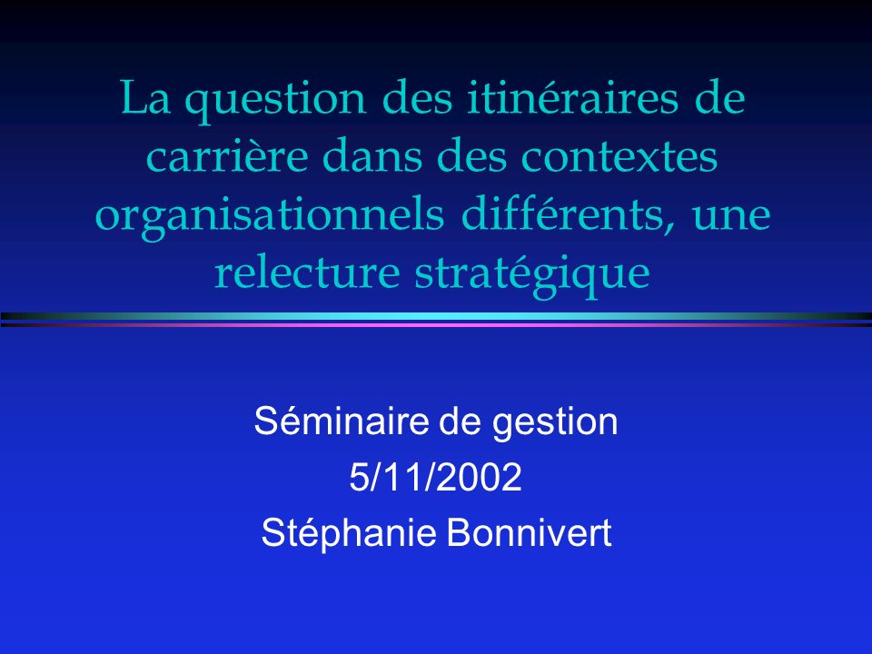Séminaire de gestion 5/11/2002 Stéphanie Bonnivert