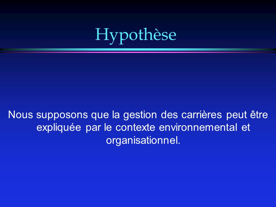 Hypothèse Nous supposons que la gestion des carrières peut être expliquée par le contexte environnemental et organisationnel.