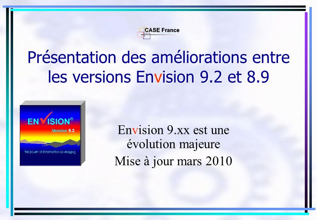 Présentation des améliorations entre les versions Envision 9.2 et 8.9