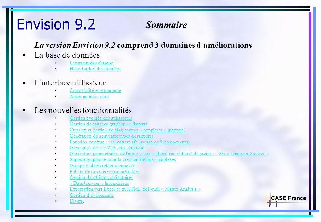 Envision 9.2 Sommaire. La version Envision 9.2 comprend 3 domaines d améliorations. La base de données.