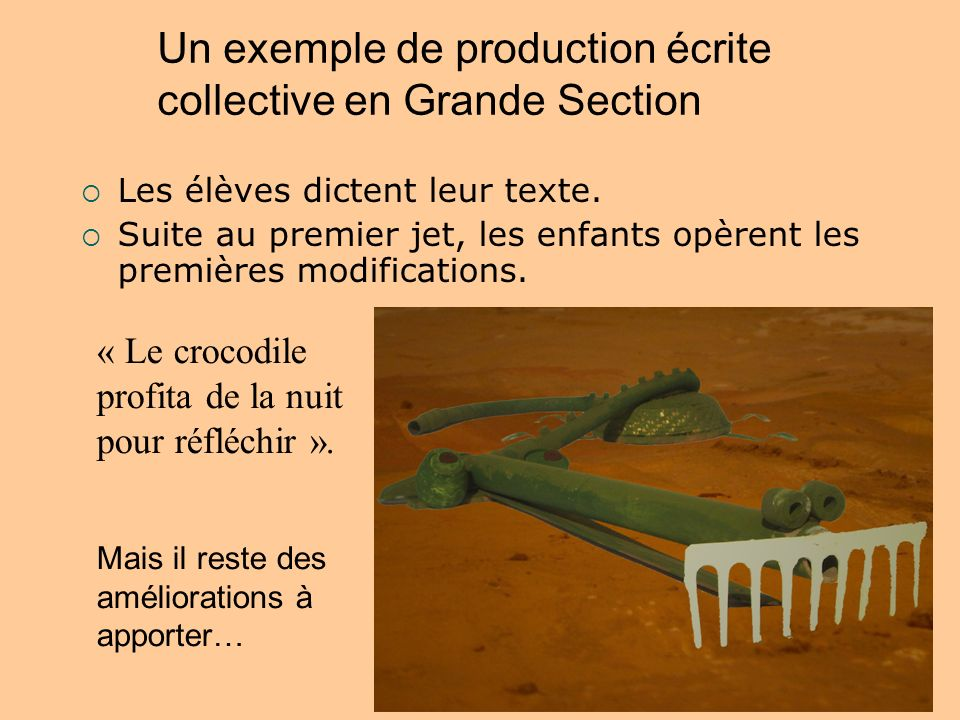 Un exemple de production écrite collective en Grande Section