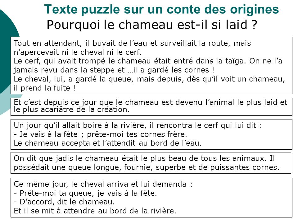 Texte puzzle sur un conte des origines