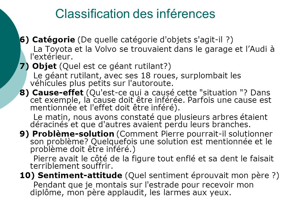 Classification des inférences