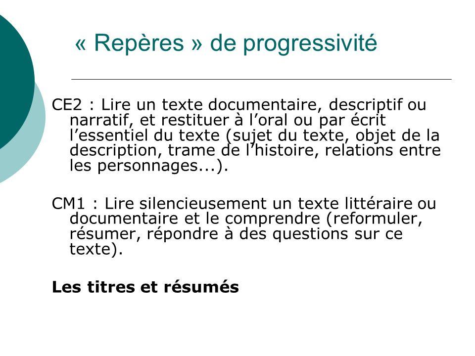 « Repères » de progressivité