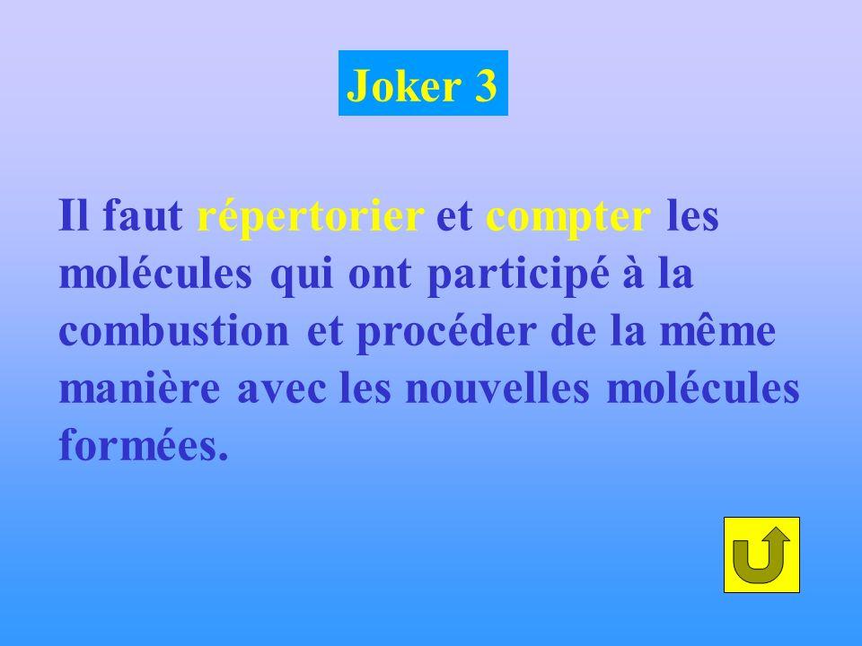 Joker 3 Il faut répertorier et compter les. molécules qui ont participé à la. combustion et procéder de la même.