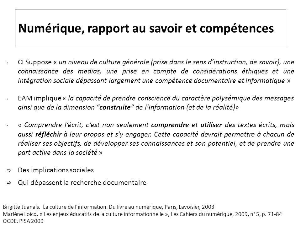 Numérique, rapport au savoir et compétences