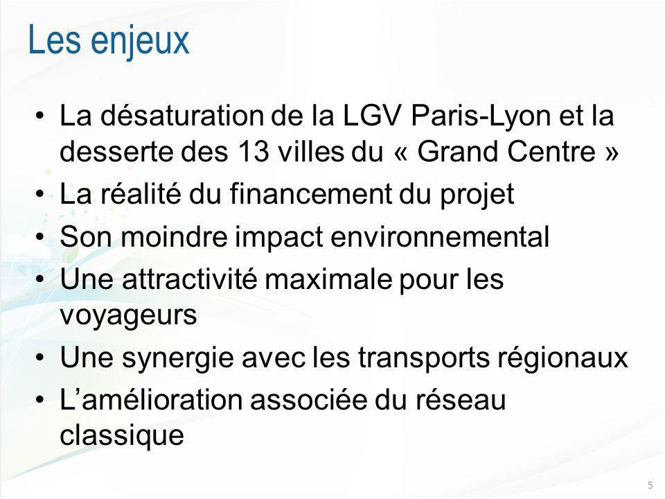 Les enjeux La désaturation de la LGV Paris-Lyon et la desserte des 13 villes du « Grand Centre » La réalité du financement du projet.