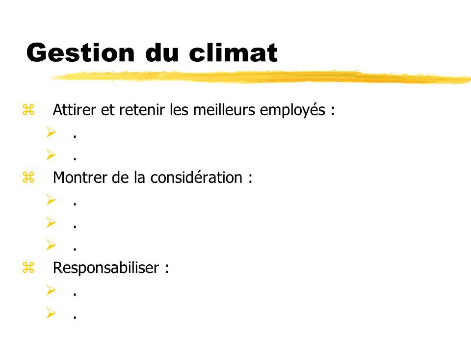 Gestion du climat Attirer et retenir les meilleurs employés : .