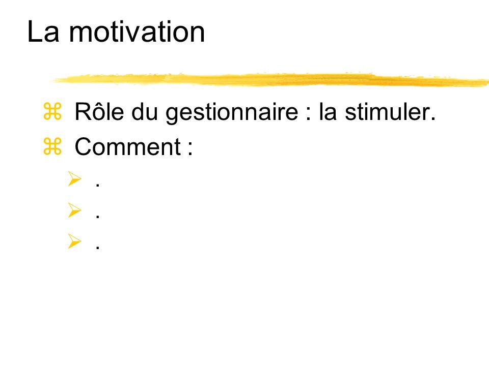 La motivation Rôle du gestionnaire : la stimuler. Comment : .
