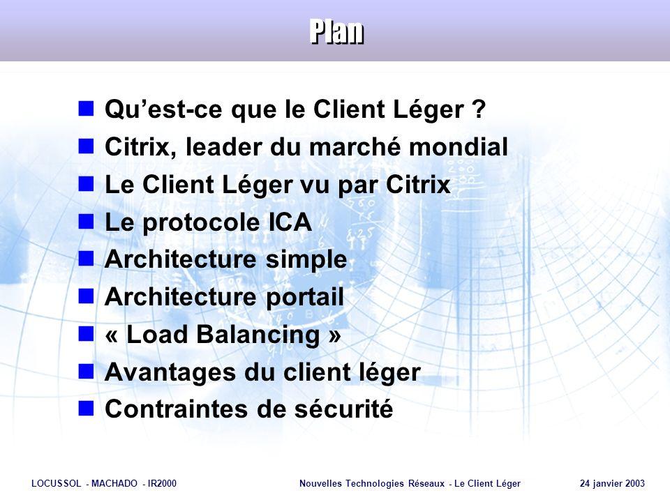 Plan Qu'est-ce que le Client Léger Citrix, leader du marché mondial