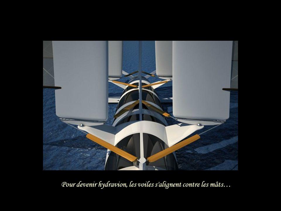 Pour devenir hydravion, les voiles s alignent contre les mâts…