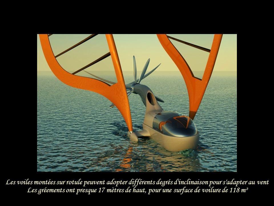 Les voiles montées sur rotule peuvent adopter différents degrés d inclinaison pour s adapter au vent