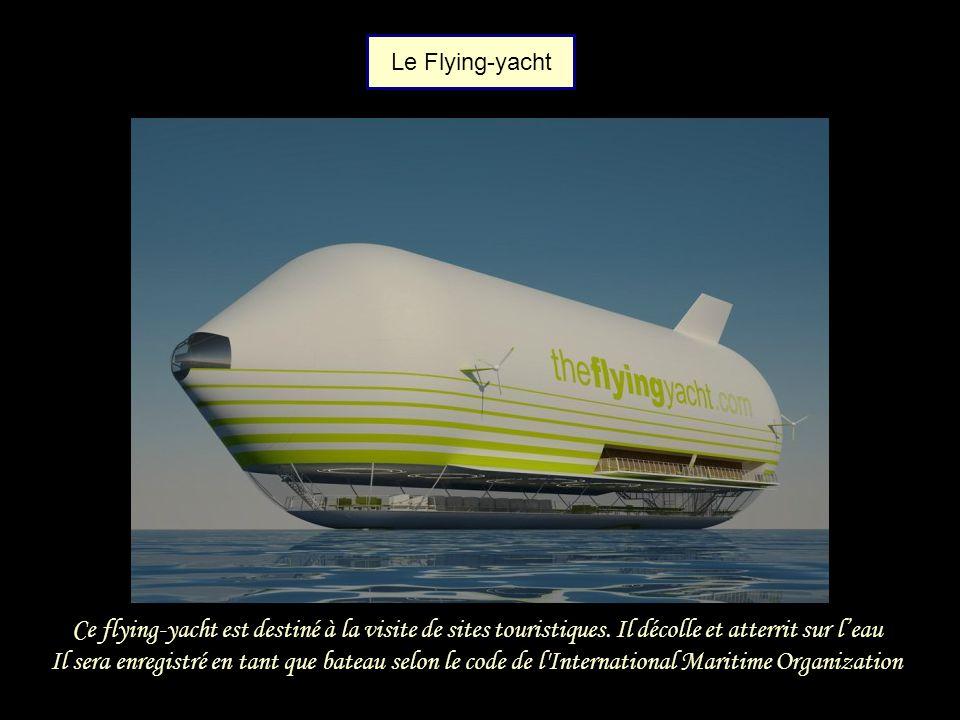 Le Flying-yacht Ce flying-yacht est destiné à la visite de sites touristiques. Il décolle et atterrit sur l'eau.