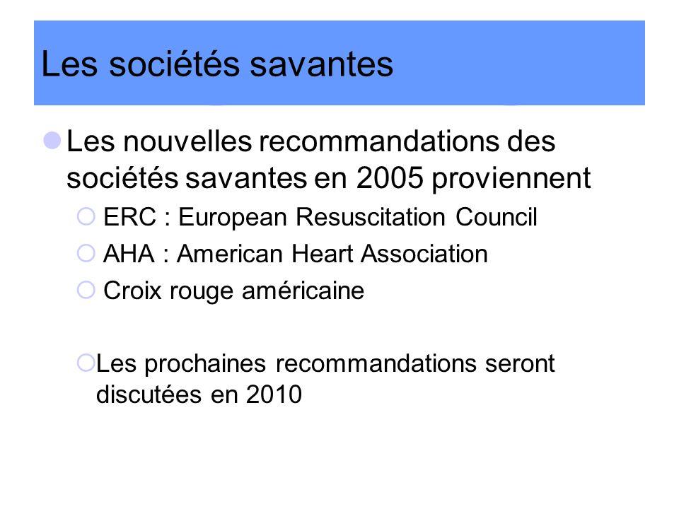 Les sociétés savantes Les nouvelles recommandations des sociétés savantes en 2005 proviennent. ERC : European Resuscitation Council.