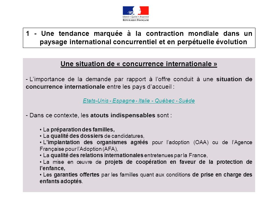 Une situation de « concurrence internationale »