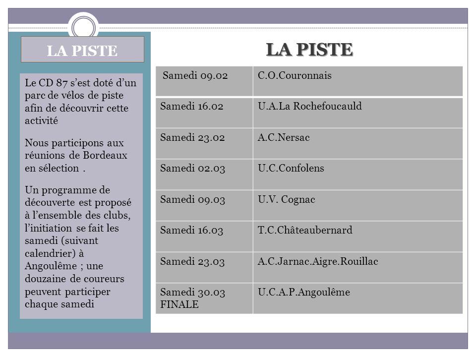 LA PISTE LA PISTE Samedi 09.02 C.O.Couronnais Samedi 16.02