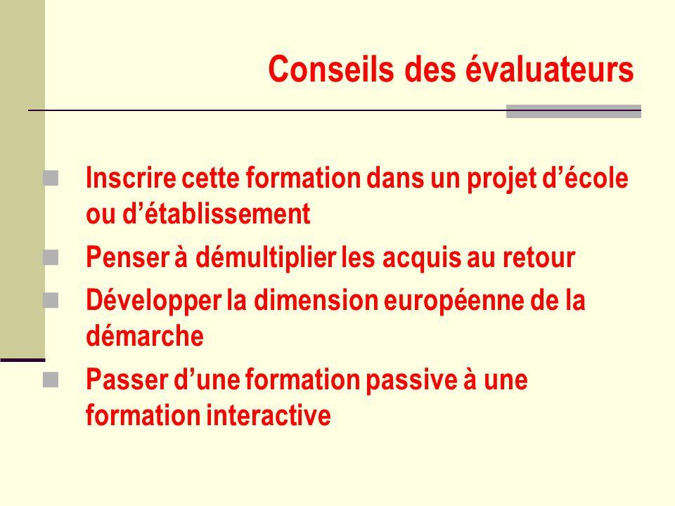 Conseils des évaluateurs