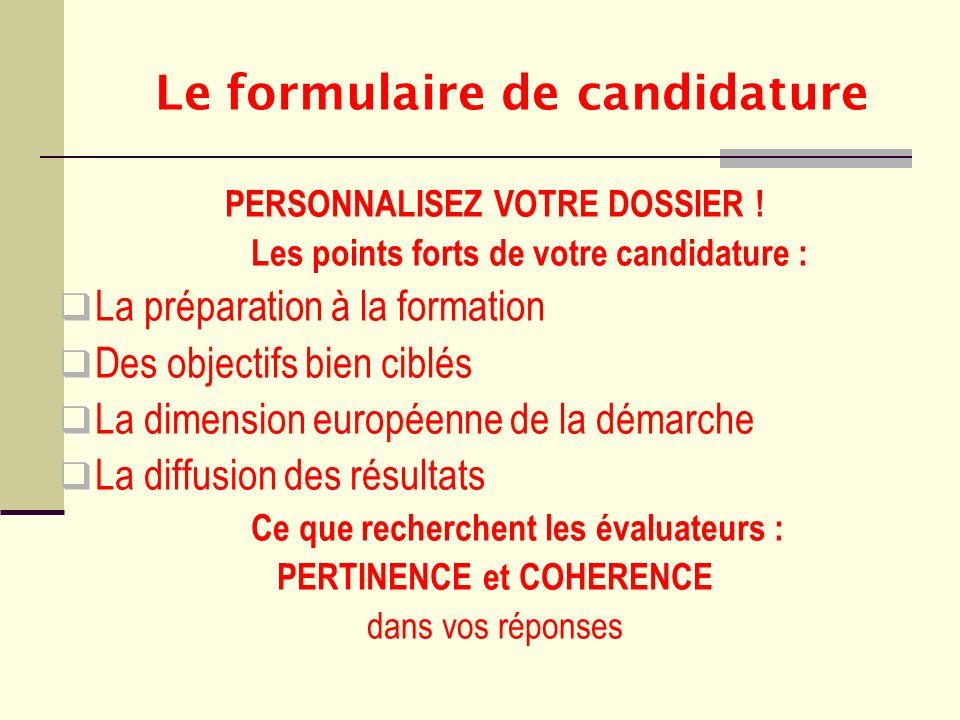 Le formulaire de candidature