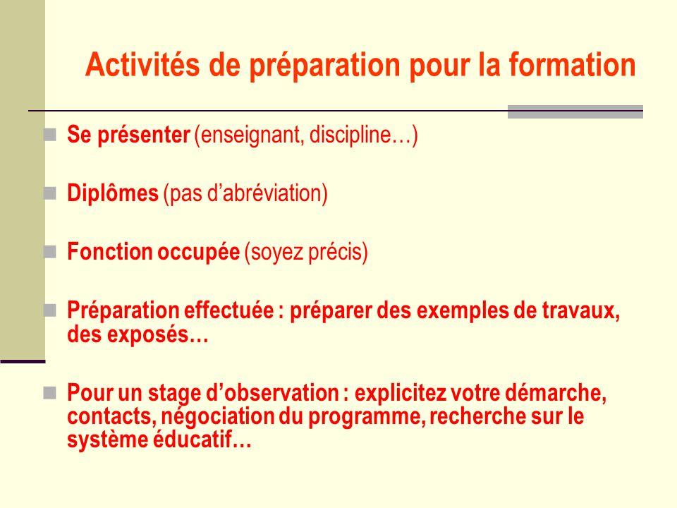Activités de préparation pour la formation