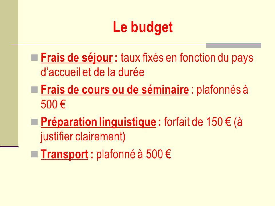 Le budget Frais de séjour : taux fixés en fonction du pays d'accueil et de la durée. Frais de cours ou de séminaire : plafonnés à 500 €