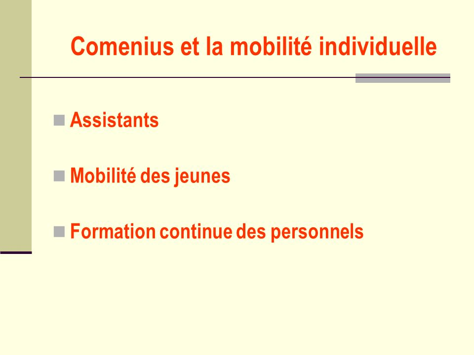 Comenius et la mobilité individuelle